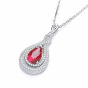 "J-Jaz Micro Pave' Red & Clear Cz Tear Drop Pendant with 18"" Chain"